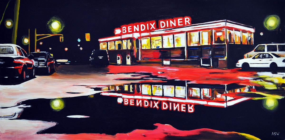 Painting of bendix diner americana angela wakefield for Diner picture