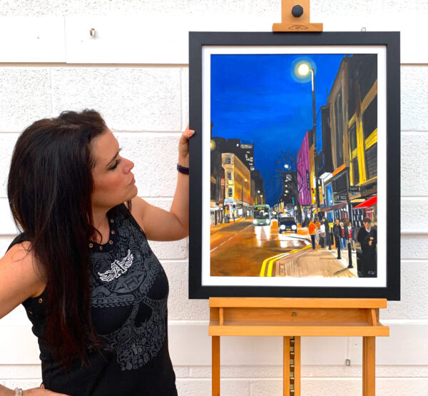 Painting of Deansgate Manchester by Angela Wakefield