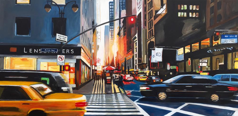 Fifth Avenue Manhattan New York by Urban Landscape Artist Angela Wakefield