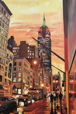 Empire State Building Cityscape Painting
