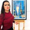 Original painting of Radio City, New York by artist Angela Wakefield